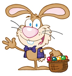 Waving bunny with easter eggs and basket vector