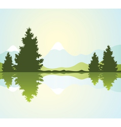 Fur-trees with reflection in water and mountains vector