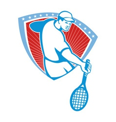 Tennis player racquet shield retro vector