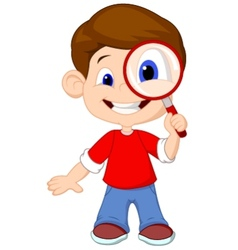 Cartoon a boy and a magnifier vector