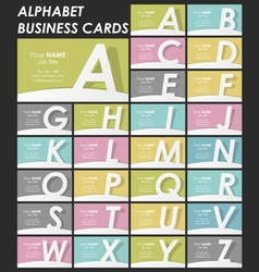 Alphabet business cards collection vector