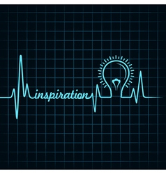 Heartbeat make inspiration word and light-bulb vector
