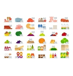 Food market flat icons vector