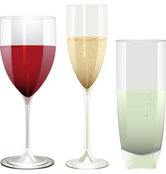 Wine champagne and water glasses on a white backgr vector