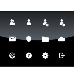 User account icons on black background vector