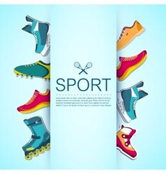 Big collection set of sport shoe equpment vector