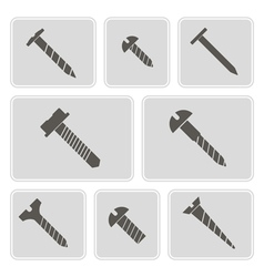 Monochrome icons with screws vector