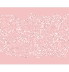 Delicate white seamless lace ribbon on a pink vector