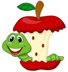 Worm eating red apple cartoon vector
