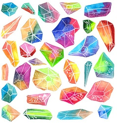 Colorful watercolor gem vector