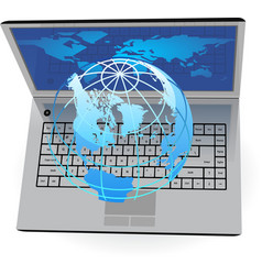 Laptop and globe vector