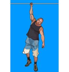 Cartoon man hangs on a crossbeam on one hand vector
