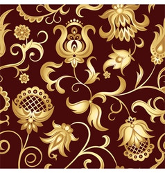 Seamless background with golden flowers vector
