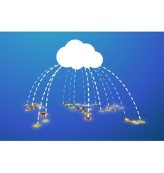 People connected in cloud flat vector