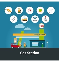 Gas station with flat icons vector