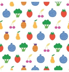 Yummy fruit veggies seamless pattern vector