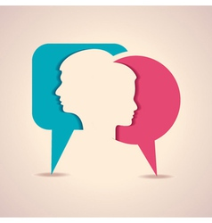Male and female face with message bubble vector