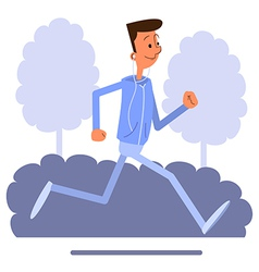 Cartoon young man jogging and listens to music vector