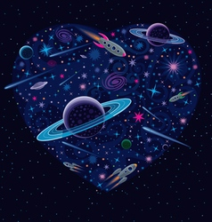 Valentine cosmic heart vector