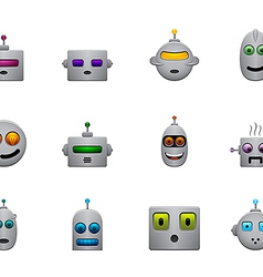 Funny retro robots smilies set with colour faces vector