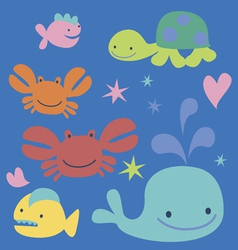 Sea cartoon characters vector