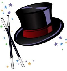 Magicians top hat and wand vector