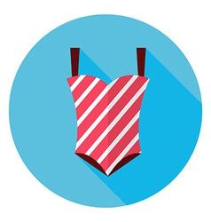 Flat summer swimsuit circle icon with long shadow vector