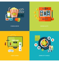 Set of flat design concept icons for entertainment vector