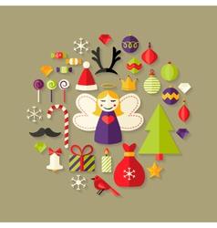 Christmas flat icons set over light brown vector