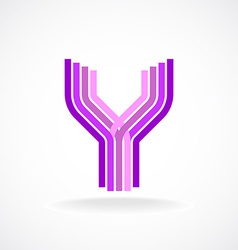 Letter y logo templateparallel lines style vector