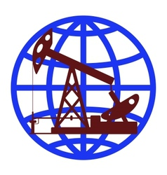 Oil pump in the background of the globe vector