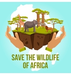 Save the wildlife of africa concept vector