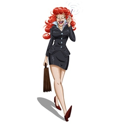 Business woman walks and talks on cellphone vector