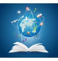 Books with world of science vector
