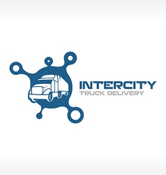 Delivery truck service logo template intercity vector