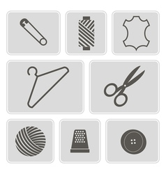 Monochrome icons with sewing symbols vector