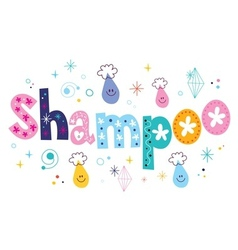 Shampoo decorative lettering type design vector