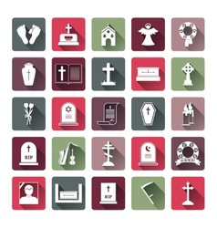 Colored funeral icon set vector