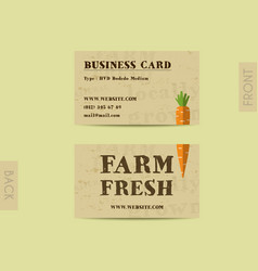 Stylish farm fresh visiting card template with vector