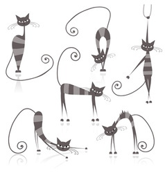 Striped cats vector