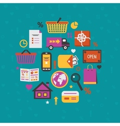 Internet shopping icons set vector