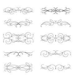 Set of various curl black elements vector