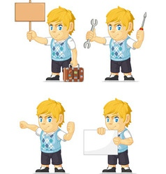Blonde rich boy customizable mascot 16 vector