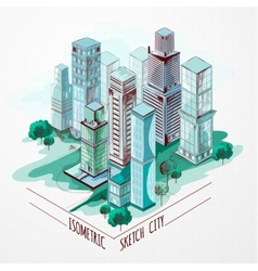 Isometric sketch city colored vector