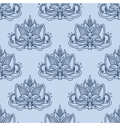 Stylized blue indian lotus seamless pattern vector
