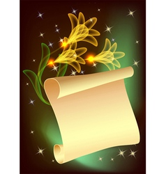 Flowers and parchment vector