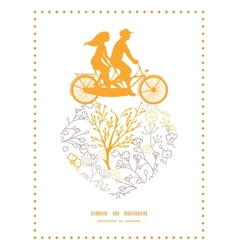 Magical floral couple on tandem bicycle vector
