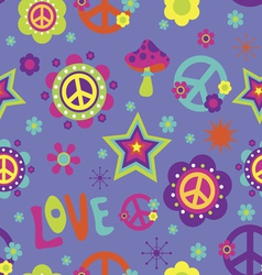 Love peace psychedelic seamless pattern vector