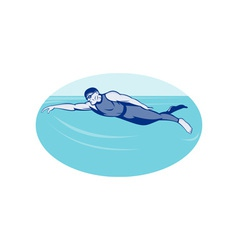 Triathlon athlete swimming freestyle side vector