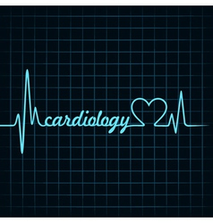 Heartbeat make a cardiology text and heart symbol vector